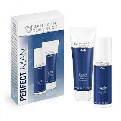 Janssen ZESTAW Perfect Man Energizing Hydro Gel 50ml + Face & Eye Vitalizer krem 30ml - Prezentowane zdjęcie może się nieco różnić od aktulanego wyglądu towaru.